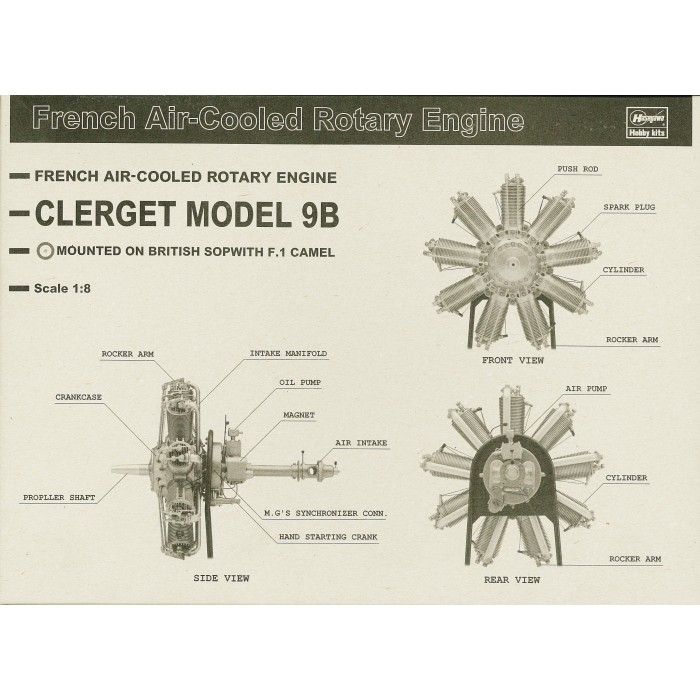 Clerget Model 9 B,  1/8 scale